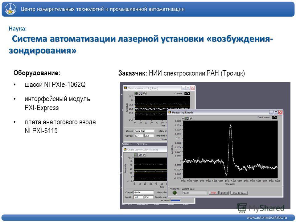 Система автоматизации лазерной установки «возбуждения- зондирования» Наука: Система автоматизации лазерной установки «возбуждения- зондирования» Заказчик: НИИ спектроскопии РАН (Троицк) Оборудование: шасси NI PXIe-1062Q интерфейсный модуль PXI-Expres