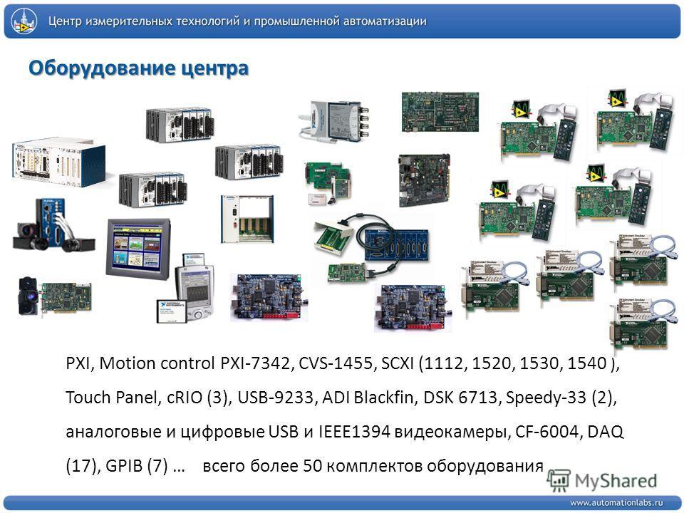 Оборудование центра PXI, Motion control PXI-7342, CVS-1455, SCXI (1112, 1520, 1530, 1540 ), Touch Panel, cRIO (3), USB-9233, ADI Blackfin, DSK 6713, Speedy-33 (2), аналоговые и цифровые USB и IEEE1394 видеокамеры, CF-6004, DAQ (17), GPIB (7) … всего