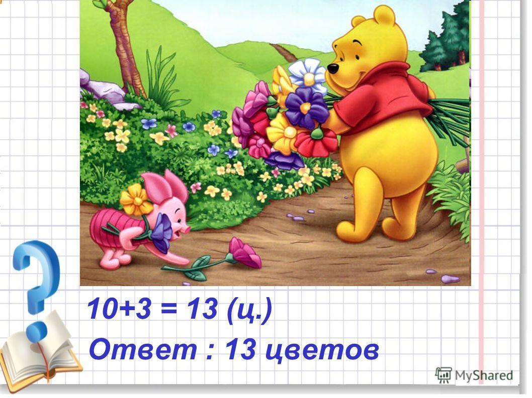 10+3 = 13 (ц.) Ответ : 13 цветов