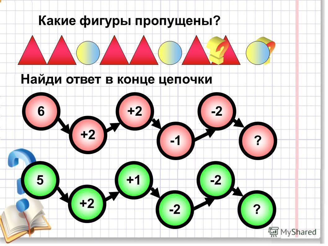 Какие фигуры пропущены? 6 ? -2 +2 5 ? -2 +1 +2 Найди ответ в конце цепочки