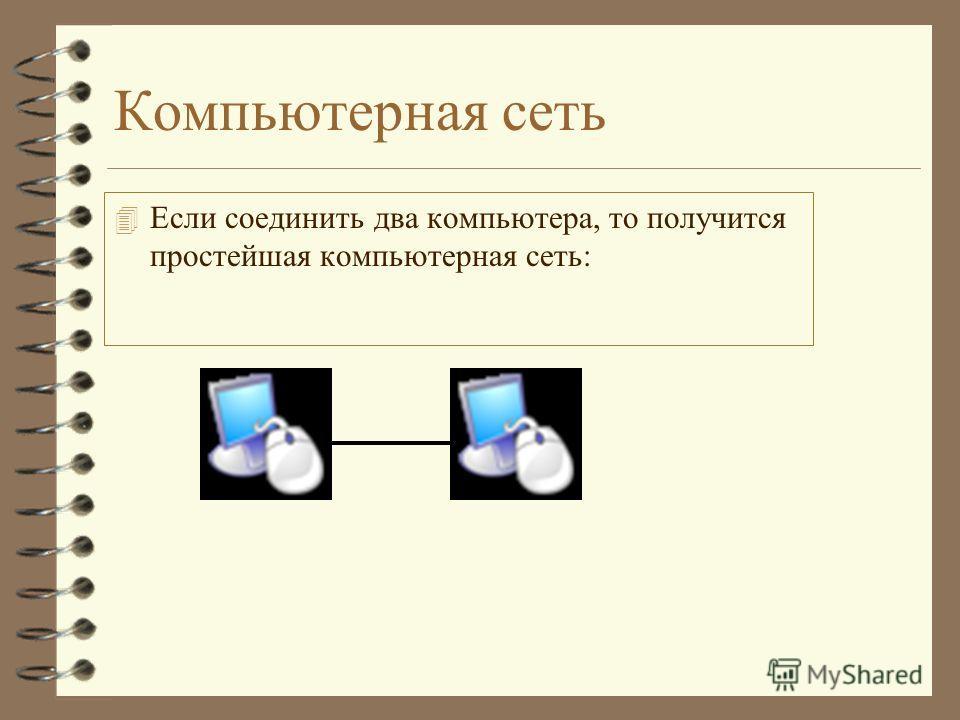 Компьютерная сеть 4 Если соединить два компьютера, то получится простейшая компьютерная сеть: