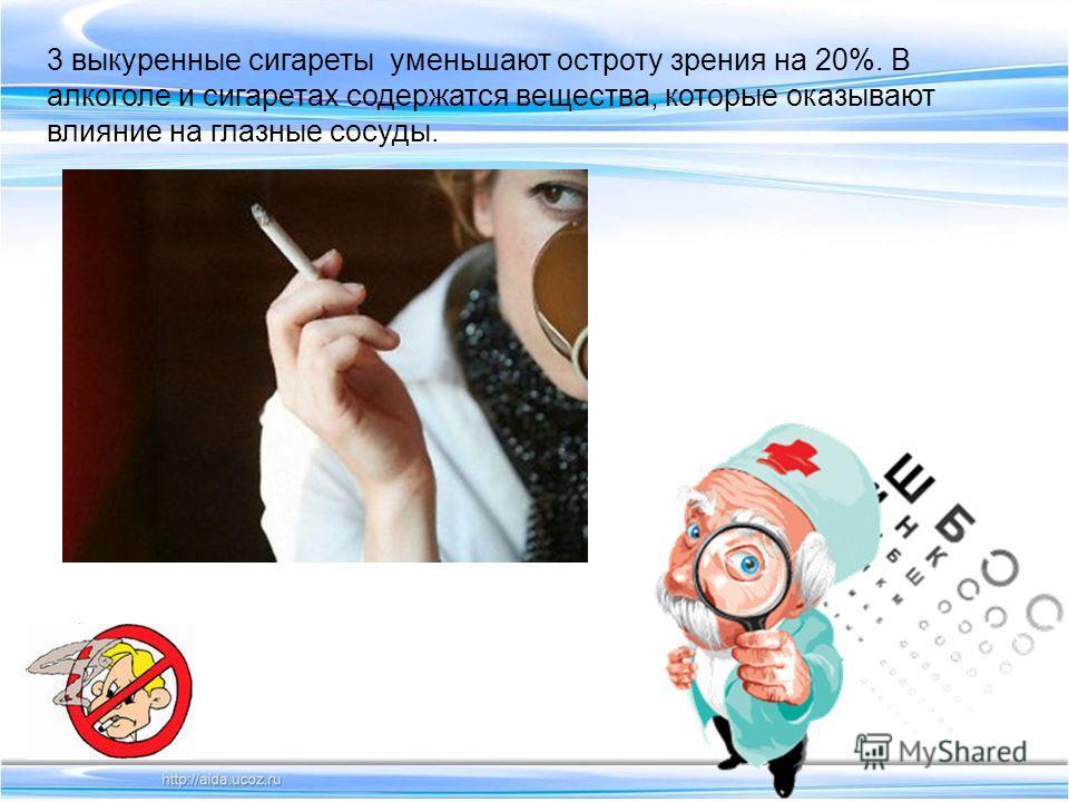 3 выкуренные сигареты уменьшают остроту зрения на 20%. В алкоголе и сигаретах содержатся вещества, которые оказывают влияние на глазные сосуды.