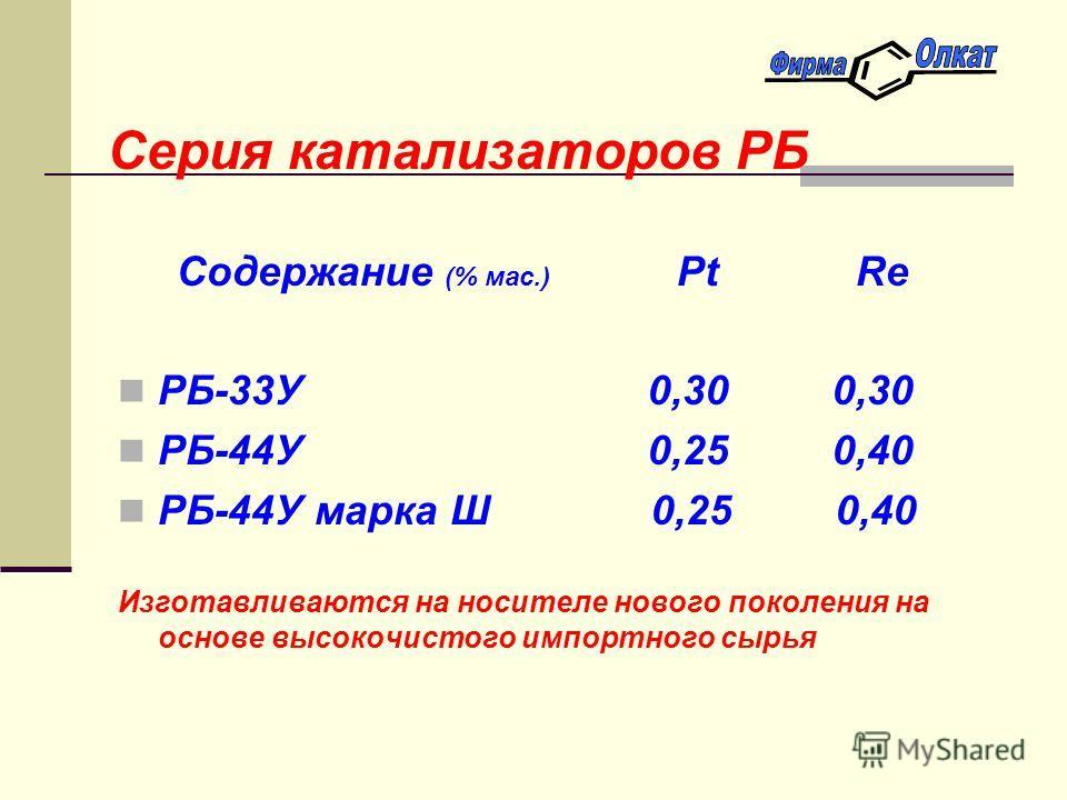 Серия катализаторов РБ Содержание (% мас.) Pt Re РБ-33У 0,30 0,30 РБ-44У 0,25 0,40 РБ-44У марка Ш 0,25 0,40 Изготавливаются на носителе нового поколения на основе высокочистого импортного сырья