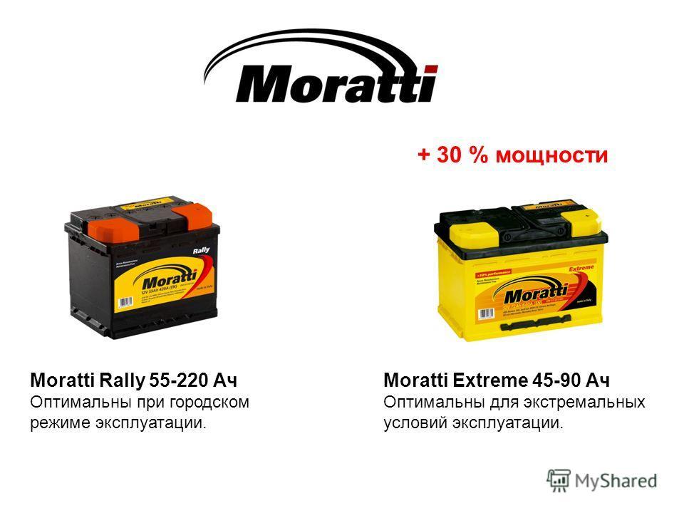 Moratti Rally 55-220 Ач Оптимальны при городском режиме эксплуатации. Moratti Extreme 45-90 Ач Оптимальны для экстремальных условий эксплуатации. + 30 % мощности