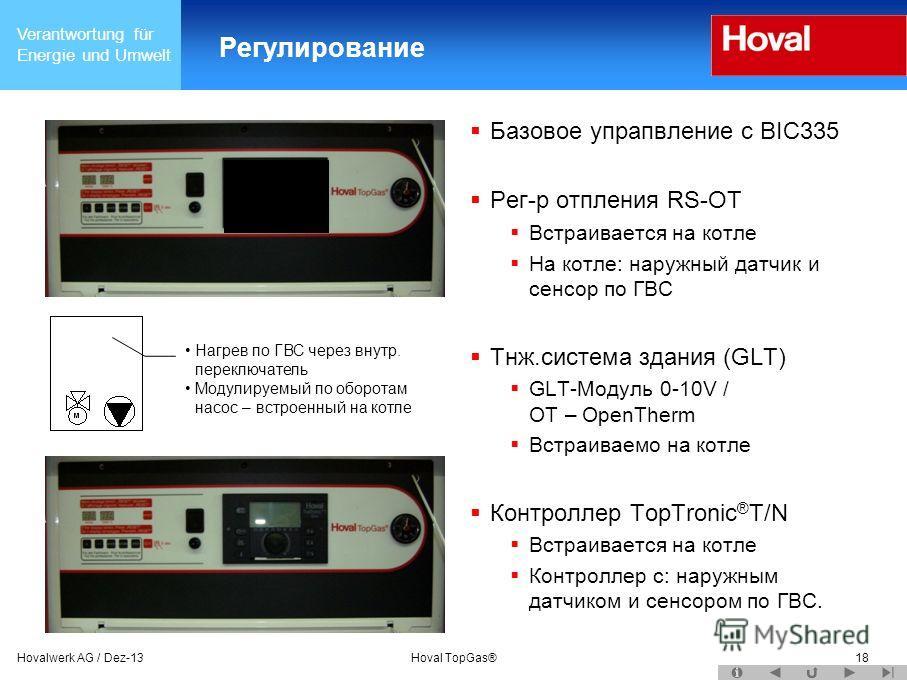 Verantwortung für Energie und Umwelt Hovalwerk AG / Dez-13Hoval TopGas®18 Регулирование Базовое упрапвление с BIC335 Рег-р отпления RS-OT Встраивается на котле На котле: наружный датчик и сенсор по ГВС Тнж.система здания (GLT) GLT-Mодуль 0-10V / OT –
