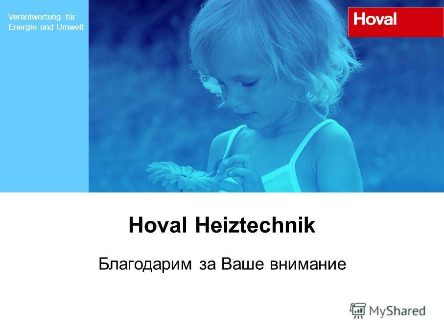 Verantwortung für Energie und Umwelt Hoval Heiztechnik Благодарим за Ваше внимание