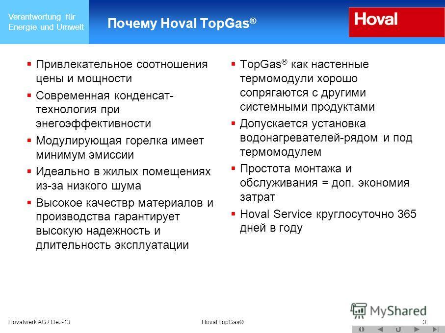 Verantwortung für Energie und Umwelt Hovalwerk AG / Dez-13Hoval TopGas®3 Почему Hoval TopGas ® Привлекательное соотношения цены и мощности Современная конденсат- технология при энегоэффективности Модулирующая горелка имеет минимум эмиссии Идеально в