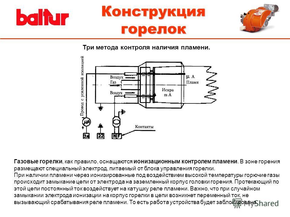 Конструкция горелок Три метода контроля наличия пламени. Газовые горелки, как правило, оснащаются ионизационным контролем пламени. В зоне горения размещают специальный электрод, питаемый от блока управления горелки. При наличии пламени через ионизиро