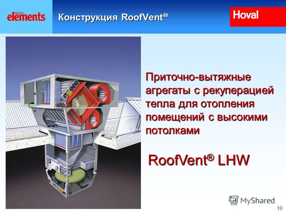 10 Конструкция RoofVent Конструкция RoofVent RoofVent ® LHW Приточно-вытяжные агрегаты с рекуперацией тепла для отопления помещений с высокими потолками