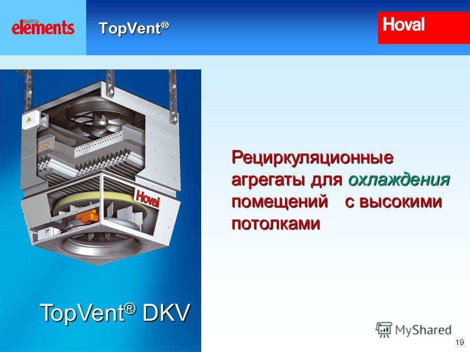 19 TopVent TopVent Рециркуляционные агрегаты для охлаждения помещений с высокими потолками TopVent ® DKV