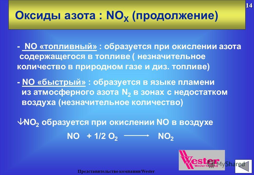â NO X представляет собой смесь двух оксидов: Оксиды азота : NO X â Три механизма образования NO - Моноксид азота : NO - Диоксид азота : NO 2 - NO «термический» : результат прямого окисления атмосферного N 2 при высоких температурах N 2 + ONO + N N +