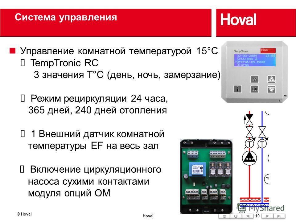 Система управления Управление комнатной температурой 15°C TempTronic RC 3 значения Т°С (день, ночь, замерзание) Режим рециркуляции 24 часа, 365 дней, 240 дней отопления 1 Внешний датчик комнатной температуры EF на весь зал Включение циркуляционного н