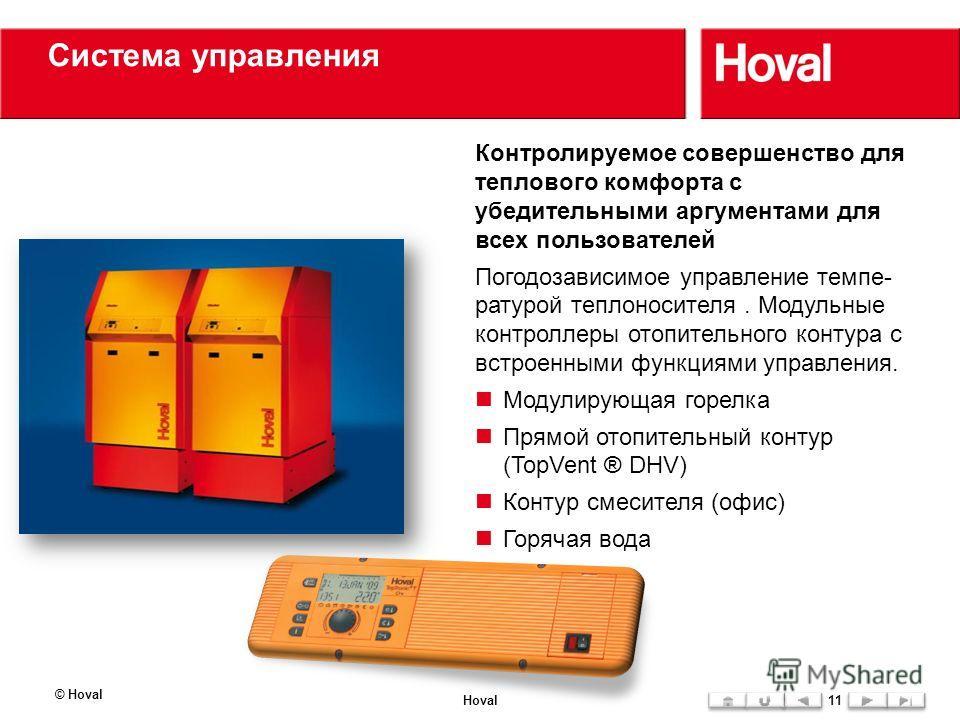 Система управления © Hoval Hoval11 Контролируемое совершенство для теплового комфорта с убедительными аргументами для всех пользователей Погодозависимое управление темпе- ратурой теплоносителя. Модульные контроллеры отопительного контура с встроенным