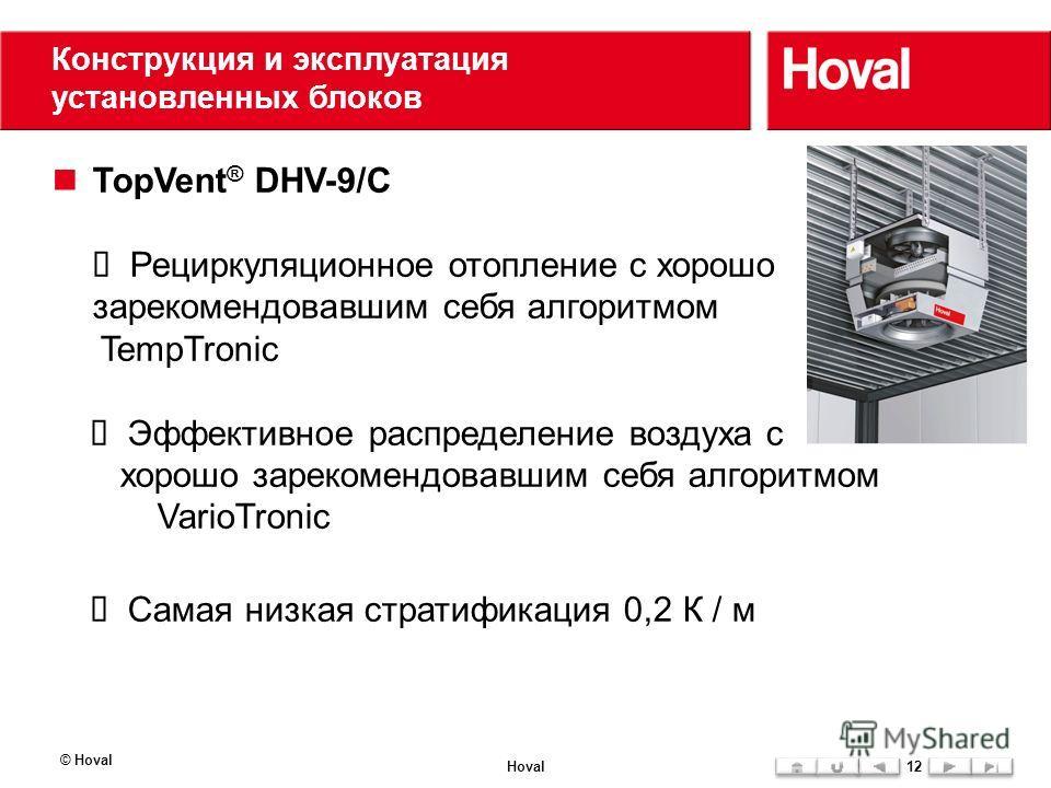 Конструкция и эксплуатация установленных блоков TopVent ® DHV-9/C Рециркуляционное отопление с хорошо зарекомендовавшим себя алгоритмом TempTronic Эффективное распределение воздуха с хорошо зарекомендовавшим себя алгоритмом VarioTronic Самая низкая с