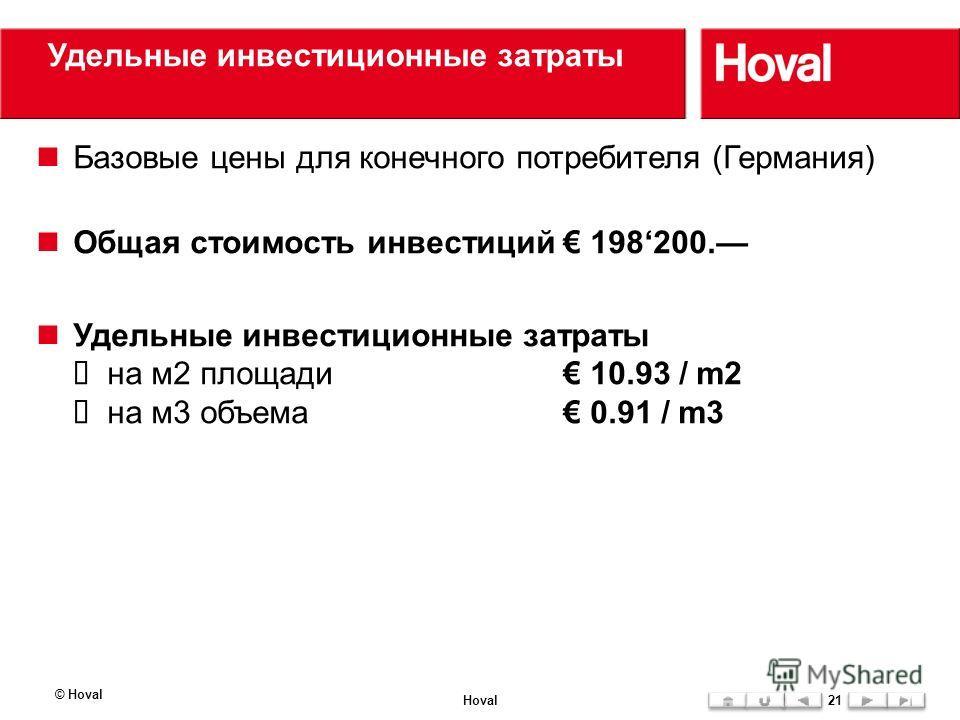 Удельные инвестиционные затраты © Hoval Hoval21 Базовые цены для конечного потребителя (Германия) Общая стоимость инвестиций 198200. Удельные инвестиционные затраты на м2 площади 10.93 / m2 на м3 объема 0.91 / m3