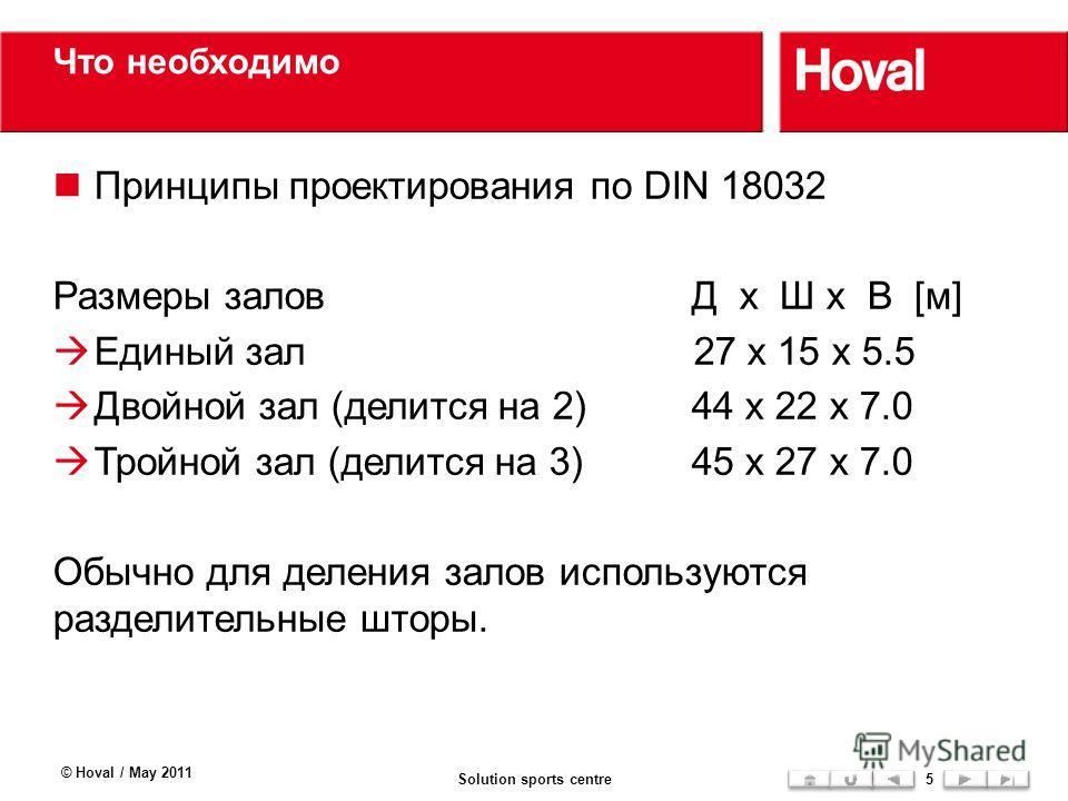 Что необходимо Принципы проектирования по DIN 18032 Размеры заловД x Ш x В [м] Единый зал27 x 15 x 5.5 Двойной зал (делится на 2)44 x 22 x 7.0 Тройной зал (делится на 3)45 x 27 x 7.0 Обычно для деления залов используются разделительные шторы. © Hoval