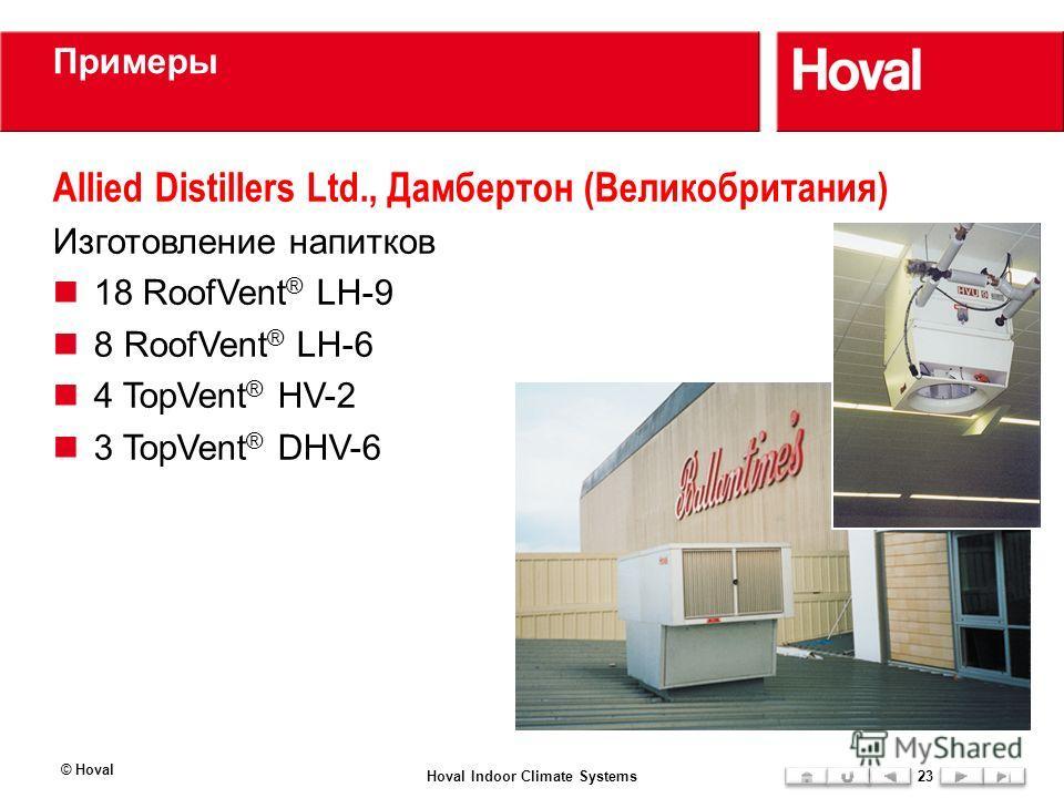 Примеры Allied Distillers Ltd., Дамбертон (Великобритания) Изготовление напитков 18 RoofVent ® LH-9 8 RoofVent ® LH-6 4 TopVent ® HV-2 3 TopVent ® DHV-6 © Hoval Hoval Indoor Climate Systems23