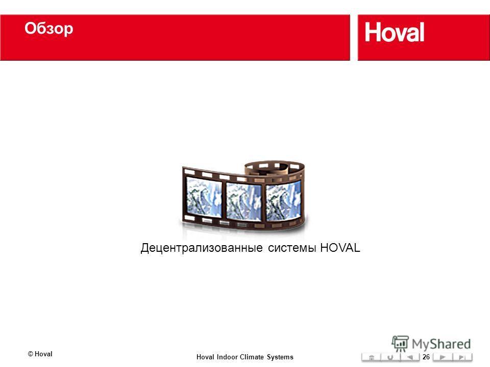 Обзор © Hoval Hoval Indoor Climate Systems26 Децентрализованные системы HOVAL