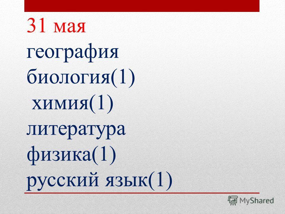 31 мая география биология(1) химия(1) литература физика(1) русский язык(1)