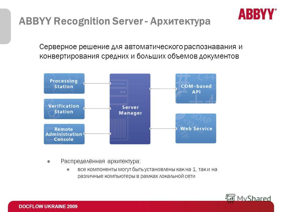 DOCFLOW UKRAINE 2009 ABBYY Recognition Server - Архитектура Распределённая архитектура: все компоненты могут быть установлены как на 1, так и на различные компьютеры в рамках локальной сети Серверное решение для автоматического распознавания и конвер