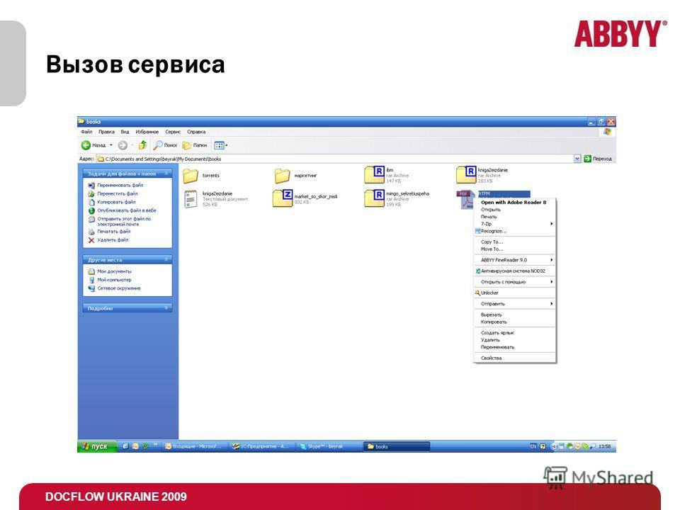 DOCFLOW UKRAINE 2009 Вызов сервиса
