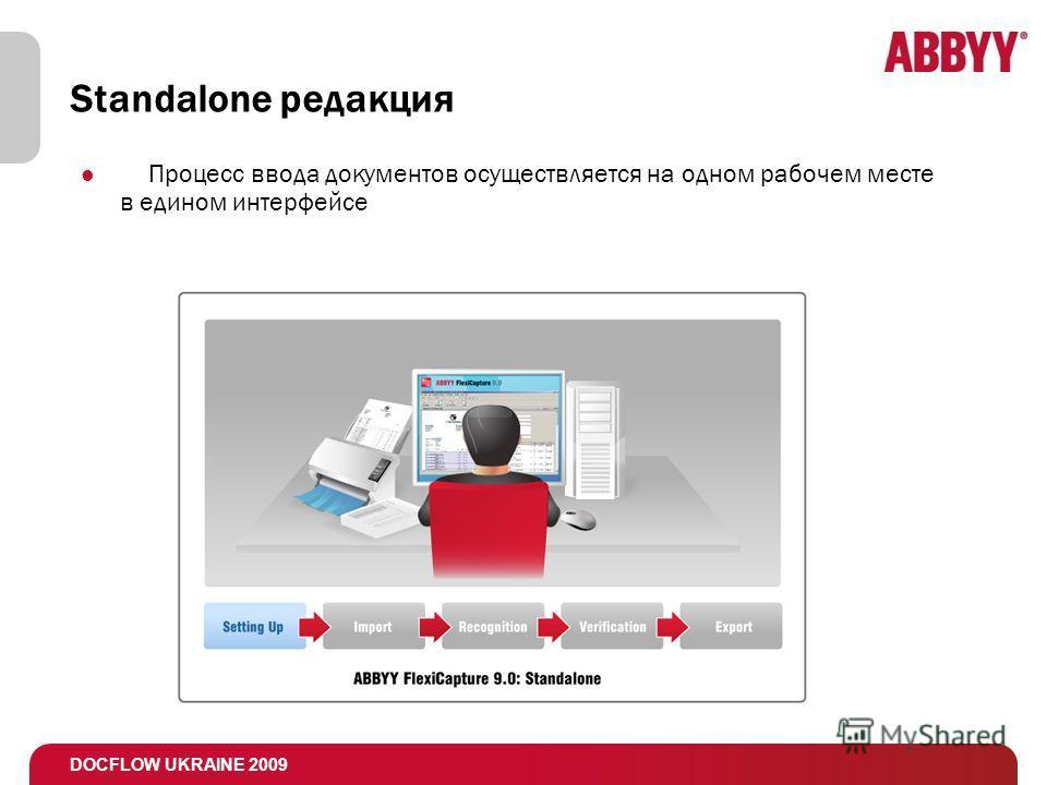 DOCFLOW UKRAINE 2009 Standalone редакция Процесс ввода документов осуществляется на одном рабочем месте в едином интерфейсе