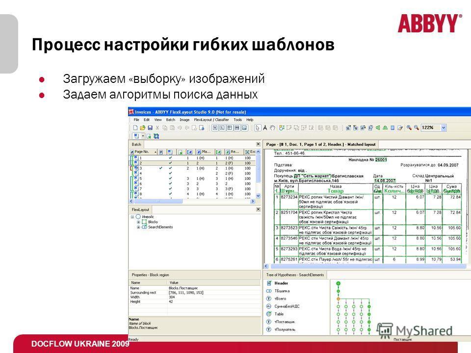 DOCFLOW UKRAINE 2009 Процесс настройки гибких шаблонов Загружаем «выборку» изображений Задаем алгоритмы поиска данных