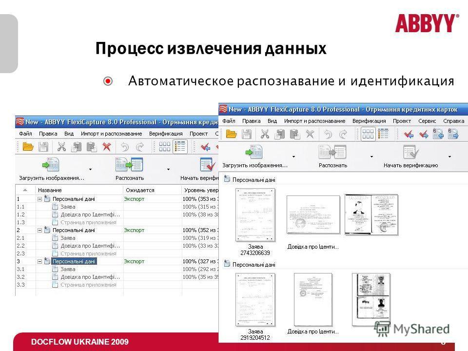 DOCFLOW UKRAINE 2009 6 Процесс извлечения данных Автоматическое распознавание и идентификация