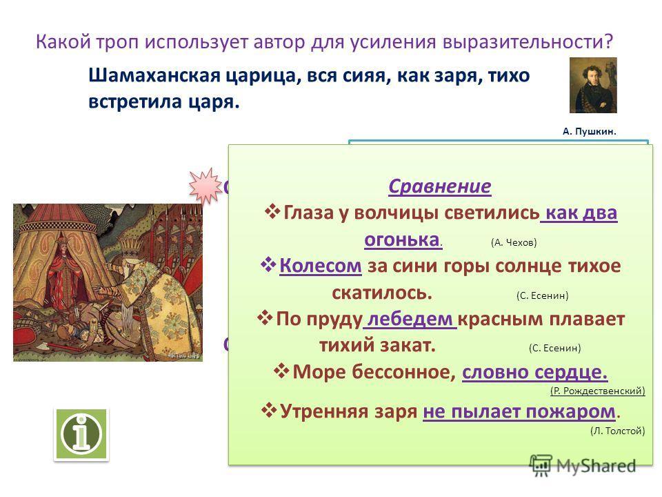 «Какой троп использует автор для усиления выразительности?» Презентация для уроков русского языка и литературы по теме