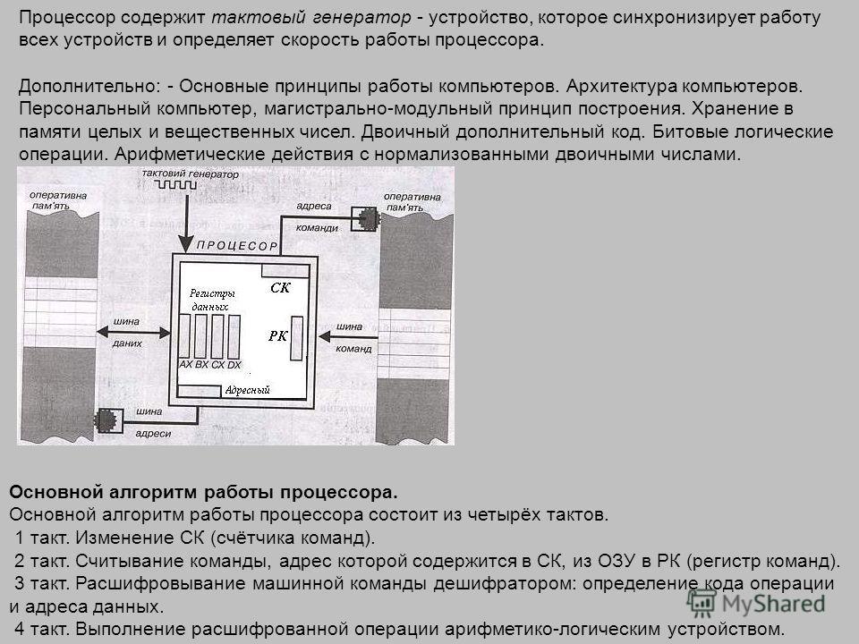 Процессор содержит тактовый генератор - устройство, которое синхронизирует работу всех устройств и определяет скорость работы процессора. Дополнительно: - Основные принципы работы компьютеров. Архитектура компьютеров. Персональный компьютер, магистра