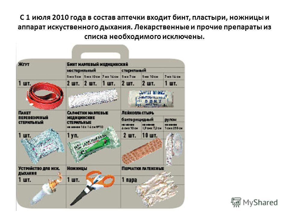 С 1 июля 2010 года в состав аптечки входит бинт, пластыри, ножницы и аппарат искуственного дыхания. Лекарственные и прочие препараты из списка необходимого исключены.