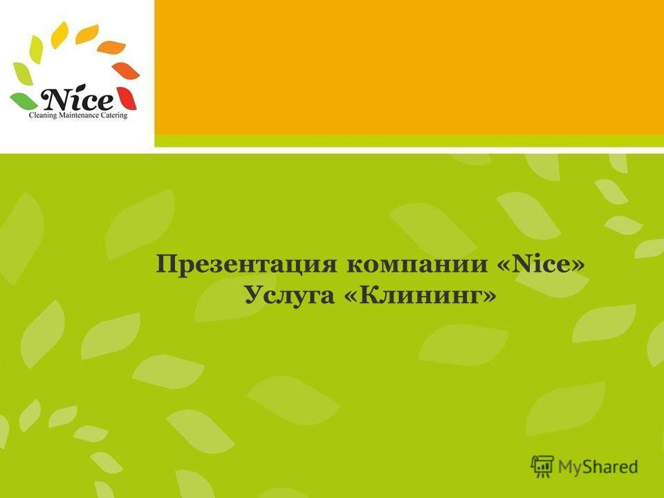 Презентация компании «Nice» Услуга «Клининг»