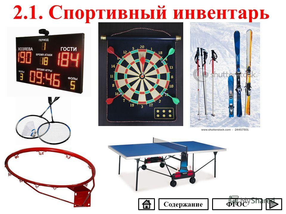 2.1. Спортивный инвентарь СодержаниеФГОС
