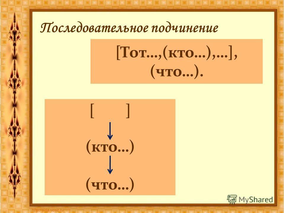 [Тот…,(кто…),…], (что…). Последовательное подчинение [ ] (кто…) (что…)