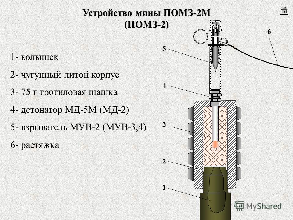 Устройство мины ПОМЗ-2М (ПОМЗ-2) 1 2 3 4 5 6 1- колышек 2- чугунный литой корпус 3- 75 г тротиловая шашка 4- детонатор МД-5М (МД-2) 5- взрыватель МУВ-2 (МУВ-3,4) 6- растяжка