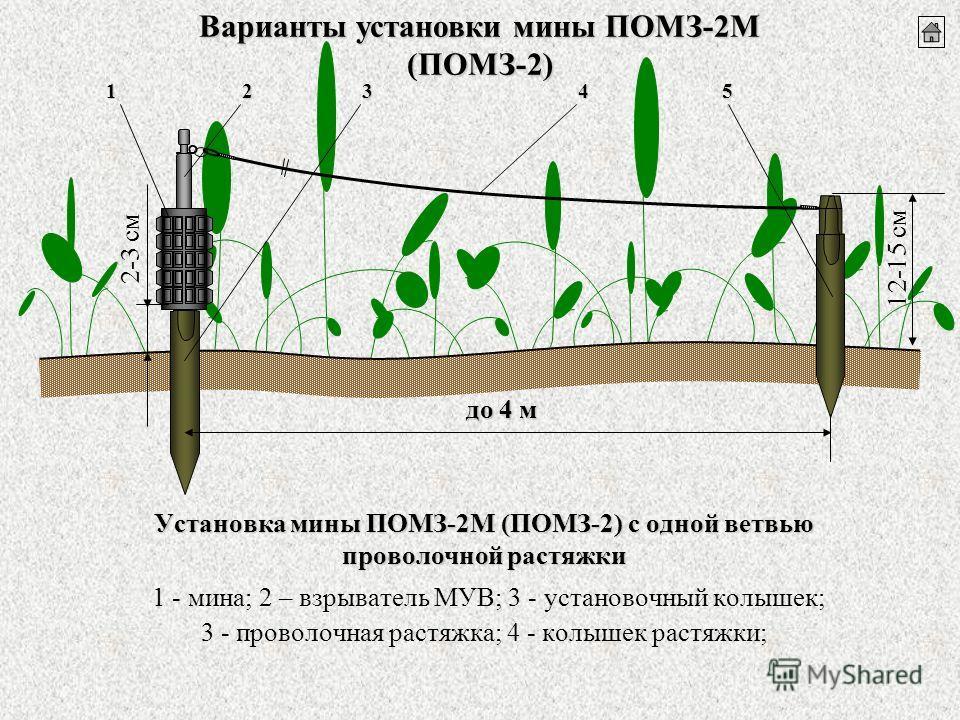 Установка мины ПОМЗ-2М (ПОМЗ-2) с одной ветвью проволочной растяжки Установка мины ПОМЗ-2М (ПОМЗ-2) с одной ветвью проволочной растяжки 1 - мина; 2 – взрыватель МУВ; 3 - установочный колышек; 3 - проволочная растяжка; 4 - колышек растяжки; 12-15 см 2