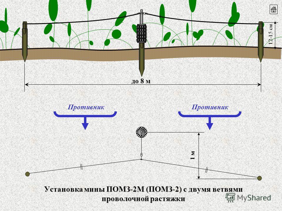 Установка мины ПОМЗ-2М (ПОМЗ-2) с двумя ветвями проволочной растяжки 12-15 см Противник 1 м до 8 м