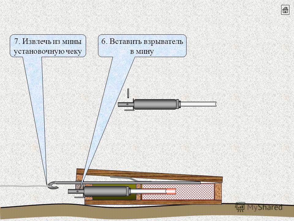 6. Вставить взрыватель в мину 7. Извлечь из мины установочную чеку
