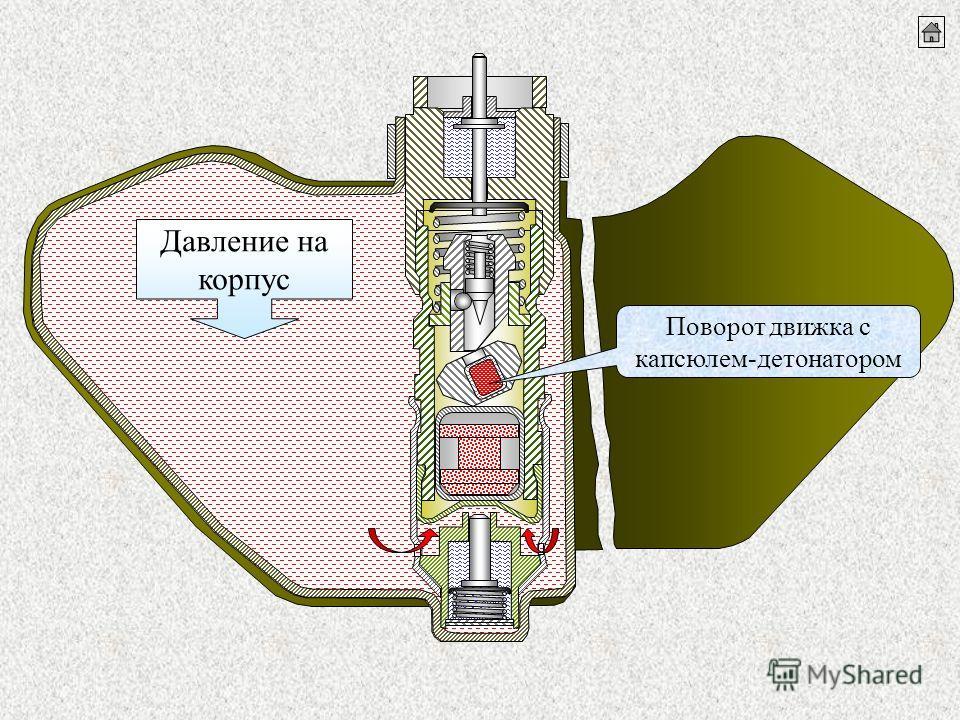 Поворот движка с капсюлем-детонатором Давление на корпус