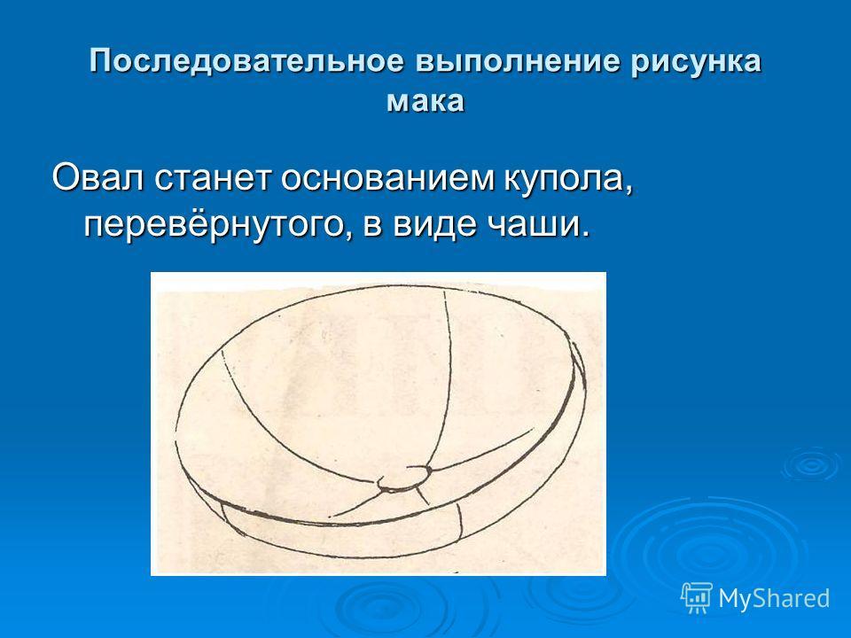 Последовательное выполнение рисунка мака Овал станет основанием купола, перевёрнутого, в виде чаши.