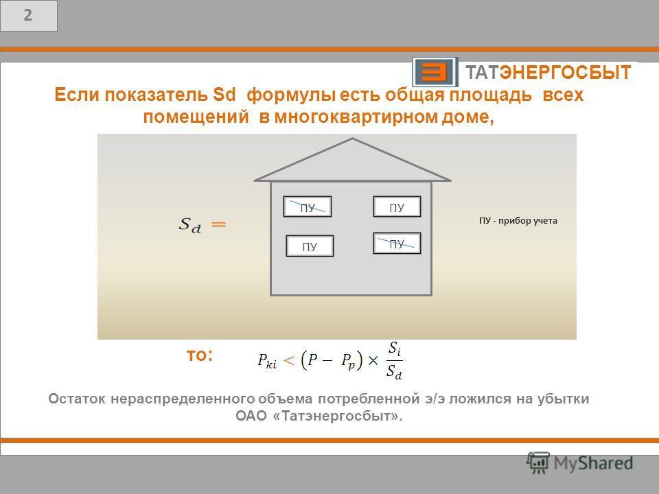 5 Т то: ТАТЭНЕРГОСБЫТ.. 2 Если показатель Sd формулы есть общая площадь всех помещений в многоквартирном доме, Остаток нераспределенного объема потребленной э/э ложился на убытки ОАО «Татэнергосбыт».