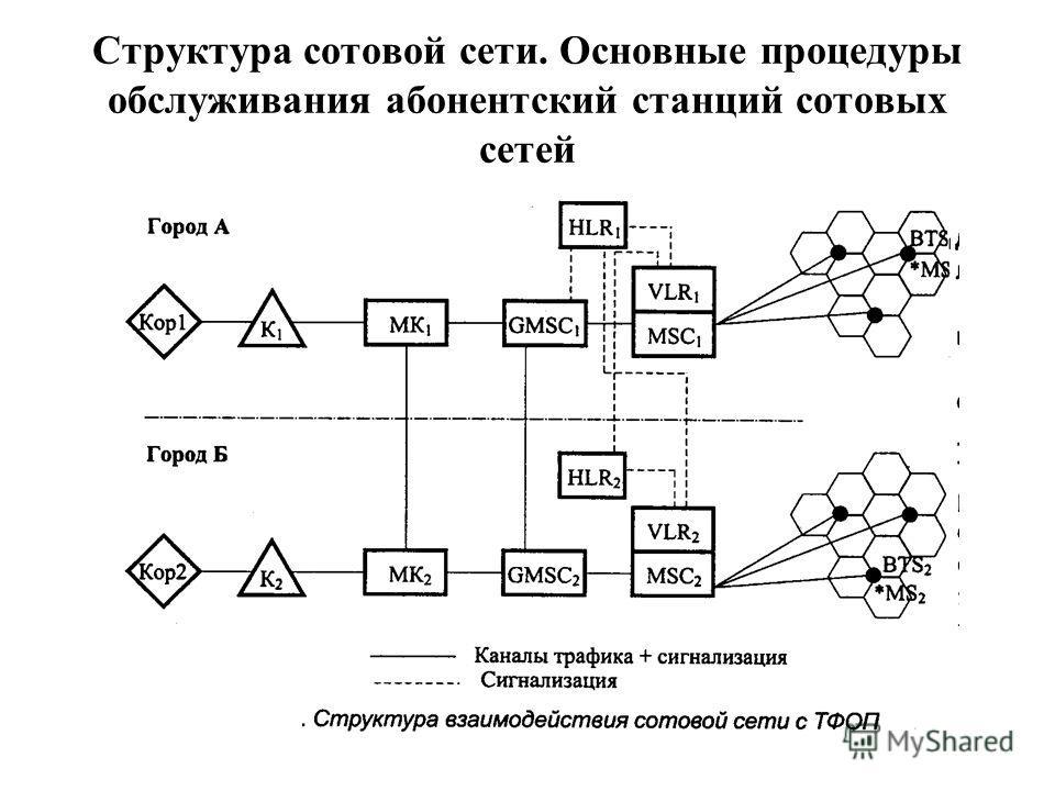 Структура сотовой сети. Основные процедуры обслуживания абонентский станций сотовых сетей
