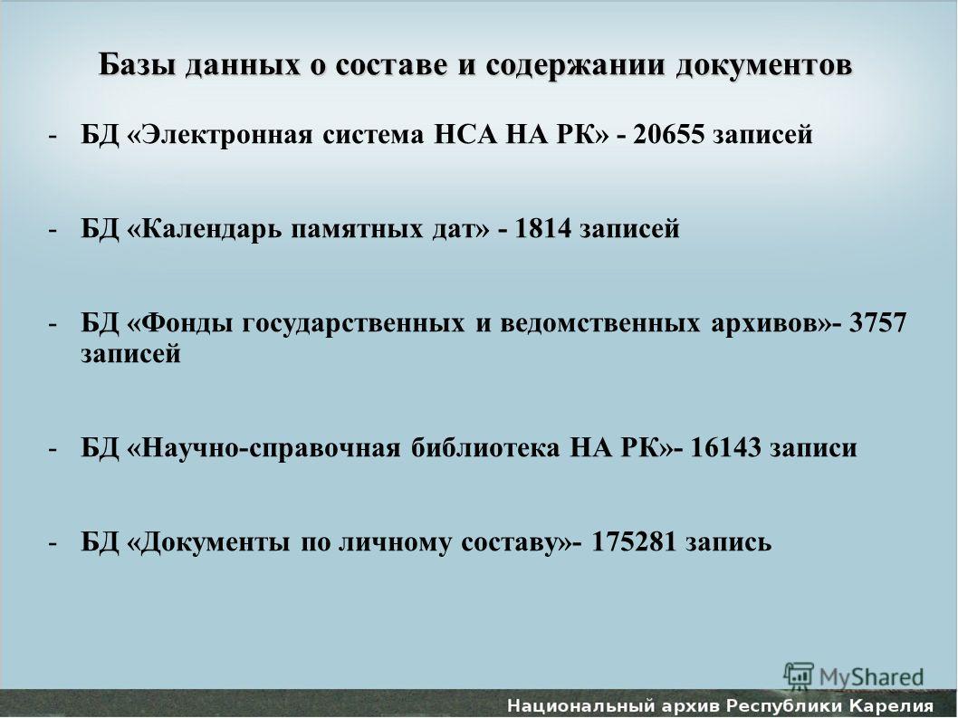 Базы данных о составе и содержании документов -БД «Электронная система НСА НА РК» - 20655 записей -БД «Календарь памятных дат» - 1814 записей -БД «Фонды государственных и ведомственных архивов»- 3757 записей -БД «Научно-справочная библиотека НА РК»-