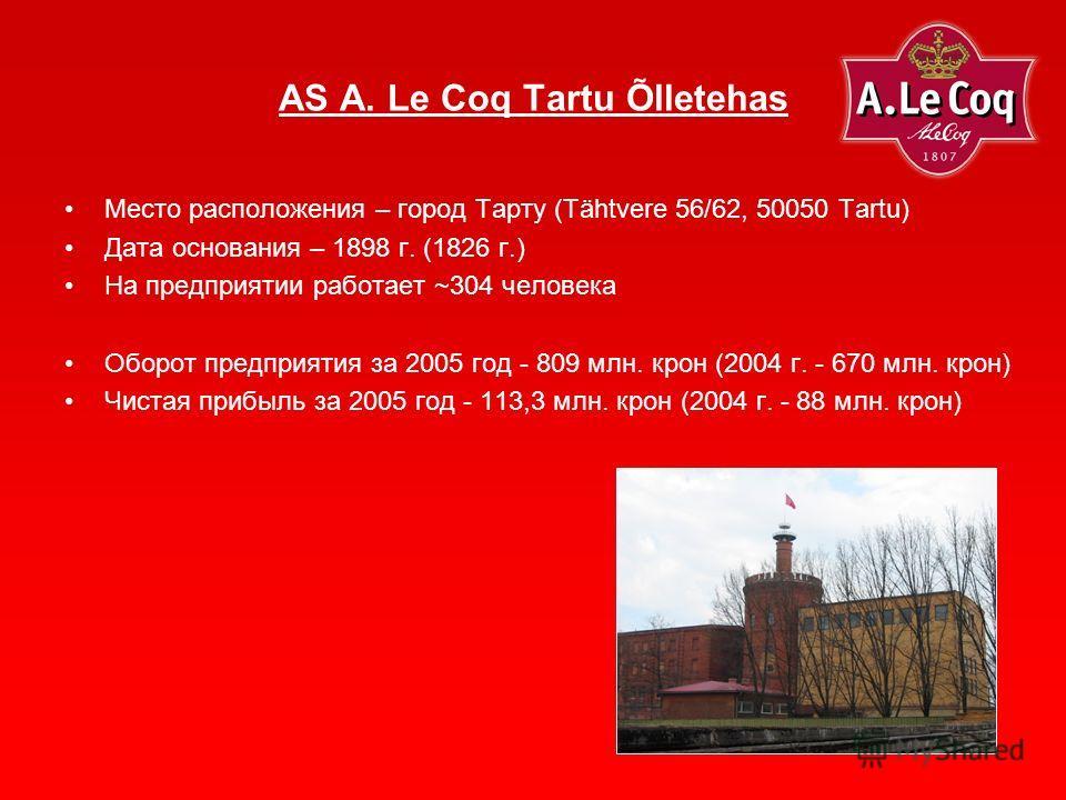 Место расположения – город Тарту (Tähtvere 56/62, 50050 Tartu) Дата основания – 1898 г. (1826 г.) На предприятии работает ~304 человека Оборот предприятия за 2005 год - 809 млн. крон (2004 г. - 670 млн. крон) Чистая прибыль за 2005 год - 113,3 млн. к