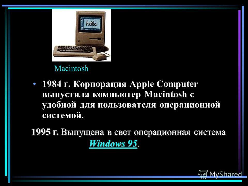 1984 г. Корпорация Apple Computer выпустила компьютер Macintosh c удобной для пользователя операционной системой. 1995 г. Выпущена в свет операционная система 1995 г. Выпущена в свет операционная система Windows 95. Windows 95.Windows 95Windows 95 Ma