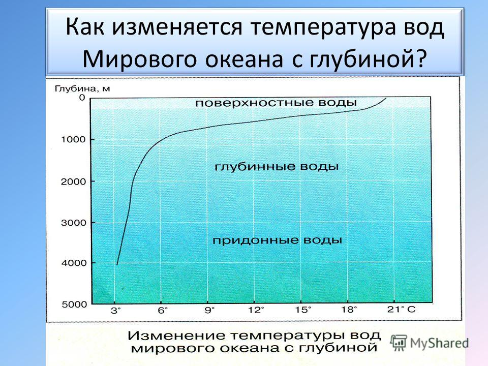 Как изменяется температура вод Мирового океана с глубиной?