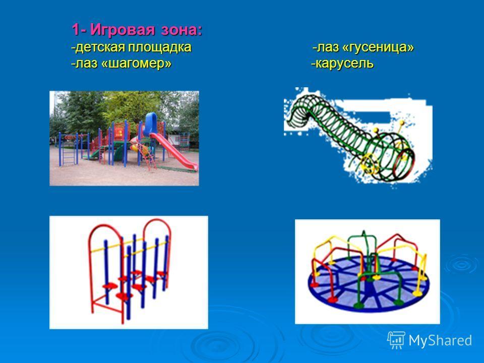 1- Игровая зона: -детская площадка -лаз «гусеница» -лаз «шагомер» -карусель