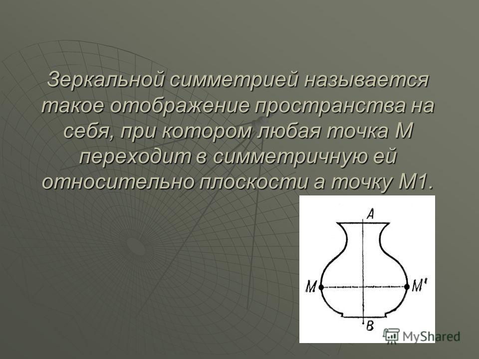 Зеркальной симметрией называется такое отображение пространства на себя, при котором любая точка М переходит в симметричную ей относительно плоскости а точку М1.