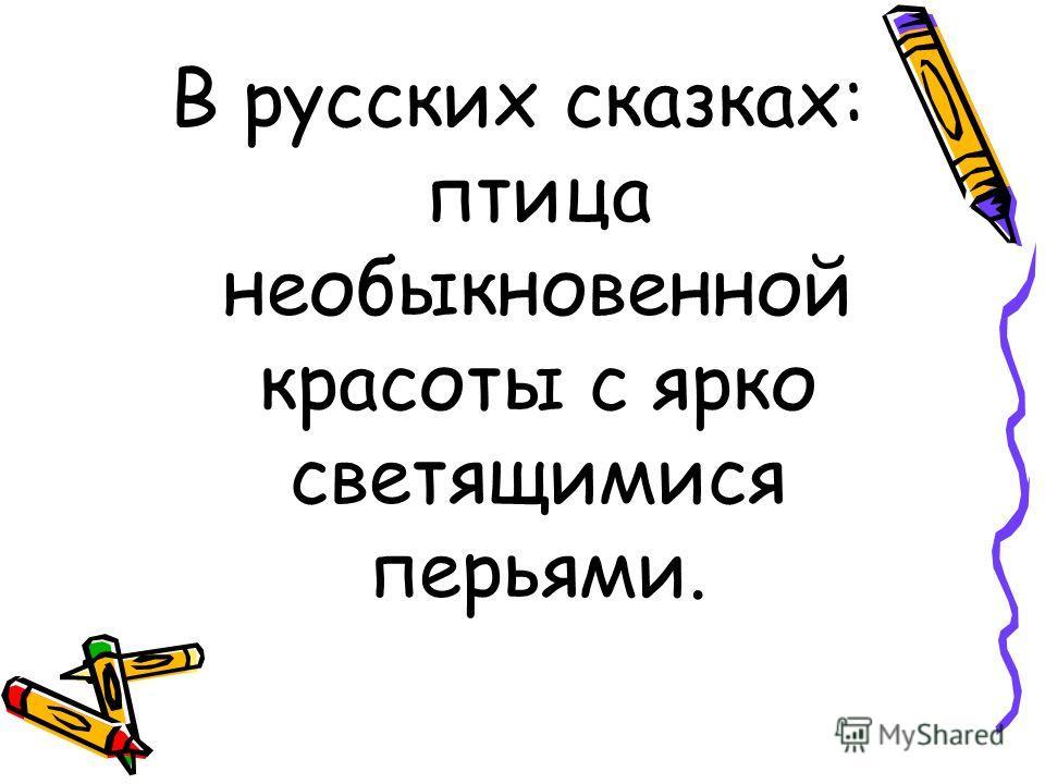 В русских сказках: птица необыкновенной красоты с ярко светящимися перьями.