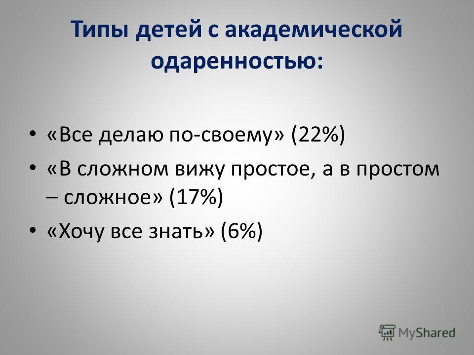 Типы детей с академической одаренностью: «Все делаю по-своему» (22%) «В сложном вижу простое, а в простом – сложное» (17%) «Хочу все знать» (6%)